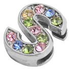 50x Fashion Plated Rhodium Colorful Rhinestone Letter Beads Fit Jewelry Making L