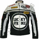 LUCKY STRIKE Cordura Textile Biker Motorcycle Jacket - Black/White - All sizes!
