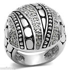 Clear CZ Pave Decorated Dome Silver Rhodium EP Ladies Ring
