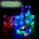 80mm/120mm Quad 4-LED Light Neon Quite Clear PC Computer Case Cooling Fan Mod