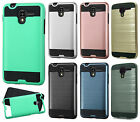 For Kyocera Hydro View Brushed Metal HYBRID Rubber Case Cover + Screen Guard