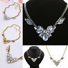 Fashion Silver/Gold Plated Crystal Pendant Statement Choker Bib Necklace Jewelry