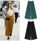 Sexy Women Casual Summer Palazzo Drawstring Pull-on Cropped Trousers Loose Pants