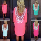 Women Sexy Lace Casual dress tops Party Evening Summer beach Mini Dress 7 colors