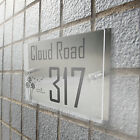 Acrylic Modern House Sign Door Number Street Address Plaque Clear Glass Effect N