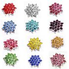 10/50pcs Colorful Rhinestone Alloy Flower Shape Embellishments Decor Jewelry D
