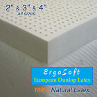 "NEW 3 Inch ErgoSoft 100% Natural Latex Topper - TWINXL 38"" x 80"", 3 Densities"