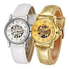 Luxury White Leather Skeleton Automatic Mechanical Women Wristwatch Watches Z9S1