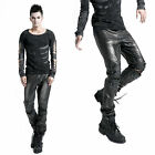 K145-M Punk Rave Visual Kera Gothic Men's Leather Pants with Awl Nail on Knee