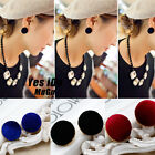 Women's Nice Round Velvet Gold Plated Charms Ear Stud Statement Earrings Jewelry