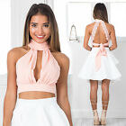 Women Sexy Summer Halter Backless Deep V-Neck Chiffon Crop Tops Blouse Clubwear