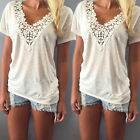 Womens Summer Vest Top Short Sleeve Blouse Casual Tank Tops Soft Shirt Lace S-XL