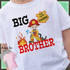 FIRETRUCK BIG BROTHER SHIRT PERSONALIZED WITH NAME FIREMAN FIRE TRUCK