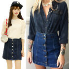 Trendy Women Button Front Mini Denim Skirt Casual High Waist A-line Jeans Skirt
