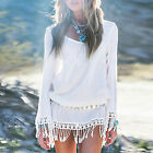 Summer Beach Boho Lace Tassel Ladies Evening Party Cocktail Short Mini Dress Top