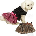 CHOOSE SIZE & COLOR - LEOPARD RIBBON - DOG PUPPY SKIRT - BROWN or PINK