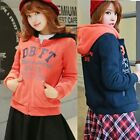 arsity Color Block Hip Hop Hoodie Jumper Women Zip Up Sweats Coat Twin Pockets