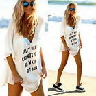 Fashion Womens Summer Beach Bikini Cover Up Letter Print Casual Loose Mini Dress