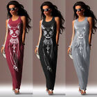 Fashion Women Cat Print Sleeveless Crew Neck Long Maxi Dress Casual Beach Dress