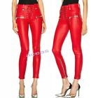 Punk Rock Women's Faux Leather Slim Ninth Pants Pencil Trousers Zip Skinny Pants