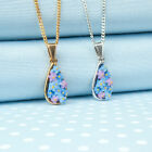 FORGET ME NOT TEAR- DROP PENDANT necklace  hand-painted in Wales  UK