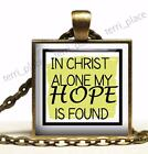 In Christ Alone Hope Is Found God Bible Quote Glass Top Bronze Pendant Necklace