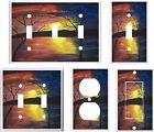 SUNSET ON THE LAKE TREES  MY ORIGINAL ABSTRACT ART LIGHT SWITCH COVER PLATE  K1