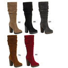 Breckelle's CELINE-13 Women's Chunky Stacked Heel Slouched Under Knee High Boots