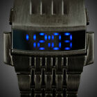 INFANTRY Mens LED Digital Wrist Watch Date Display Black Stainless Steel Strap