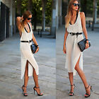 Sexy Lady Fashion Summer Beach Casual Chiffon Sleeveless Backless Split Dress