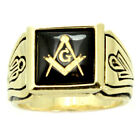 Stainless Steel Faux Onyx Stone Masonic Ring