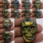 36-38mm  Carved labradorite skull cab cabochon *each one picture*