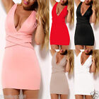 Womens Bandage Bodycon Sleeveless V Neck Ladies Sexy Party Cocktail Mini Dress