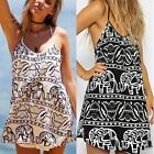Womens Sexy Summer Elephant Print Pattern Spaghetti Straps Beach Evening Dress S