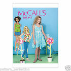 McCall's 7347 Easy Sewing Pattern to MAKE Girls' Top Dress Shorts Pants +Sizes