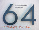 NEUTRAFACE Anthracite Aluminium House Number PAIR - 15cm -  FAST, FREE DELIVERY