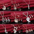 Women Silver/Gold Wedding Rhinestone Necklace Crystal Earrings Ring Jewelry Set