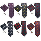 "Landisun Polka Dots Mens Silk Neck Tie Set: Tie+Hanky+Cufflinks 3.25""Wx59""L"