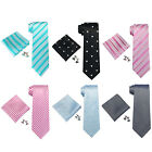 Landisun Floral Novelty Plaids Grid Mens Silk Neck Tie Set: Tie+Hanky+Cufflinks