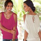 Women Off shoulder Batwing Short Sleeve Casual T-Shirt Tops Blouse Shirt Tank