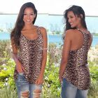 Fashion Women Vest Top Sleeveless Leopard Blouse Casual  Beach T-Shirt Tank Tops