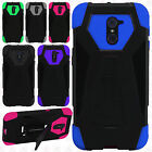 For ZTE Grand X Max 2 Turbo Layer HYBRID KICKSTAND Rubber Case Phone Cover