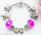 baby girls personalised silver bracelet Animal charms add any name purpal fuchia