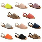 Womens Ladies Glitter Summer Menorcan Sandals Slingback Beach Shoes Size 3-8
