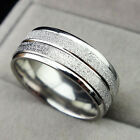 Hot Sale 316L Stainless Steel Frosted Silver Band 8m Ring For Mens Size7-11.5