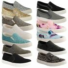 Ladies Womens Flat Slip On Casual Skater Gym Plimsolls Trainers Pumps Shoes Size