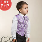 Baby Boys Lilac Purple Wedding Pageboy Communion Formal Paisley Waistcoat Suit