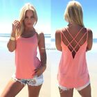 Loose Fashion Women Sexy Strap Cross Hollow Out Vest Casual Tank Tops Cami N4U8