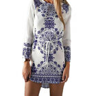 1 Pc Fresh Ladies Crew Neck Mini Dress Long Sleeved Floral Shift Dress