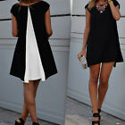 1 Pc Chiffon Patchwork Crew Neck Mini Dress Summer Ladies Short Sleeved Dress